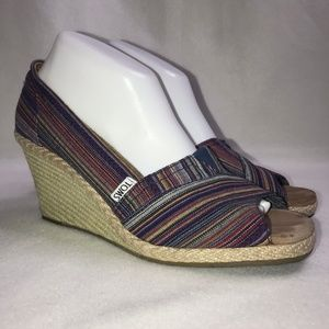 Toms Colorful Striped Espadrille Peep Toe Wedge 10